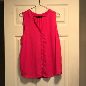 Hot pink sleeveless tank button up